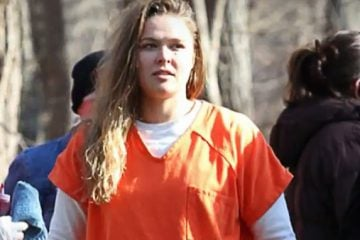 Ronda Rousey rocking full prison garb, on NBC's 'Blindspot' set