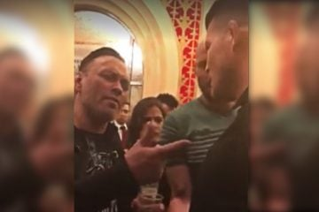 A heated Michael Bisping is seen getting into Eddie Bravo's face.
